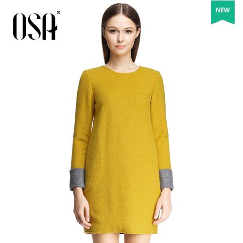 OSA Summer Women Dress Simple And Beautiful Mustard Yellow Women Summer Style Dress SL404029(China (Mainland))