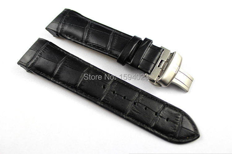 24mm Buckle 22mm T035627 T035614 High Quality Silver Butterfly Buckle Black Genuine Leather Watchband belts For