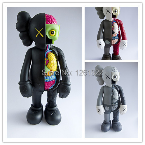 1pc Original Fake KAWS Dissected Companion Standing Type 38cm 3 Colors High Quality Viny Pvc Resin Action Figures Fashion Toys(China (Mainland))