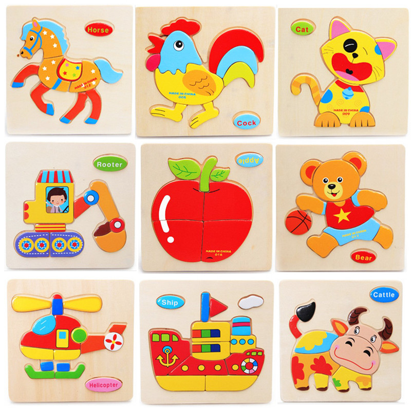 Quality Promotion Colorful Wooden Animal Puzzle Educational Toys Developmental Baby Toy Child Early Training Game Free Shipping(China (Mainland))