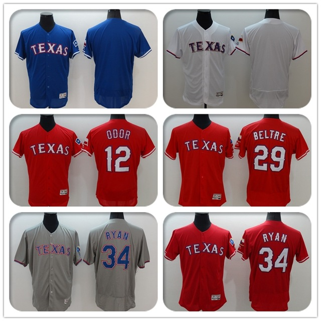 Mens #12 Rougned Odor #29 Adrian Beltre 34 Nolan Ryan #Blank Jersey Color Red Blue Gray White Throwback Jerseys(China (Mainland))