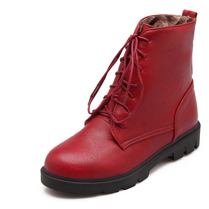 Size 34-39 New  PU Leather Boots Fashion Lace-Up  Ankle Round Toe  Boots Black Gray Red Yellow Women Shoes Boots<br><br>Aliexpress
