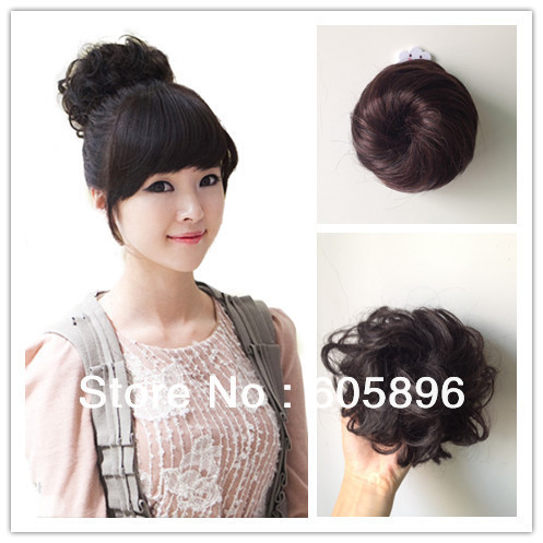 Free shipping-Girls synthetic hair bun straight and curl 2 styles 4colors available<br><br>Aliexpress