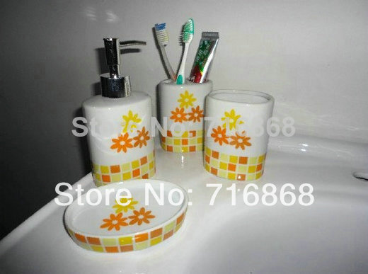 Ds c1027 yellow flower round ceramic soap dish dispenser for Yellow bathroom accessories sets
