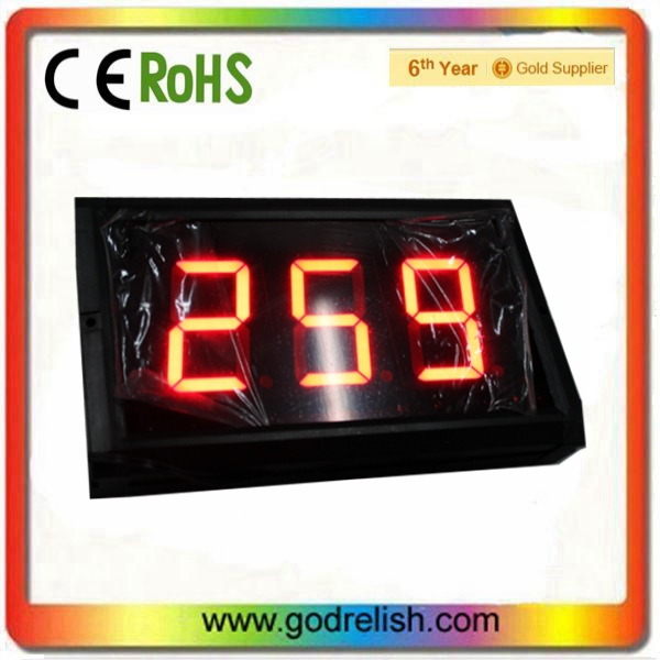 3 inch red led display clock 7- segment high quality indoor 3 digits digital wall led countdown timer(China (Mainland))
