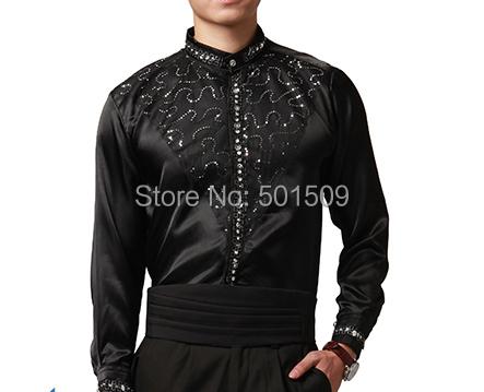 Бесплатная доставка блестки бисером воротник этап князь черный смокинг рубашки ну ...