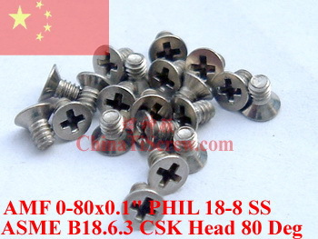 Stainless Steel screws 0-80x0.1 Flat Head 18-8 SS ROHS - ChinaTiScrew store