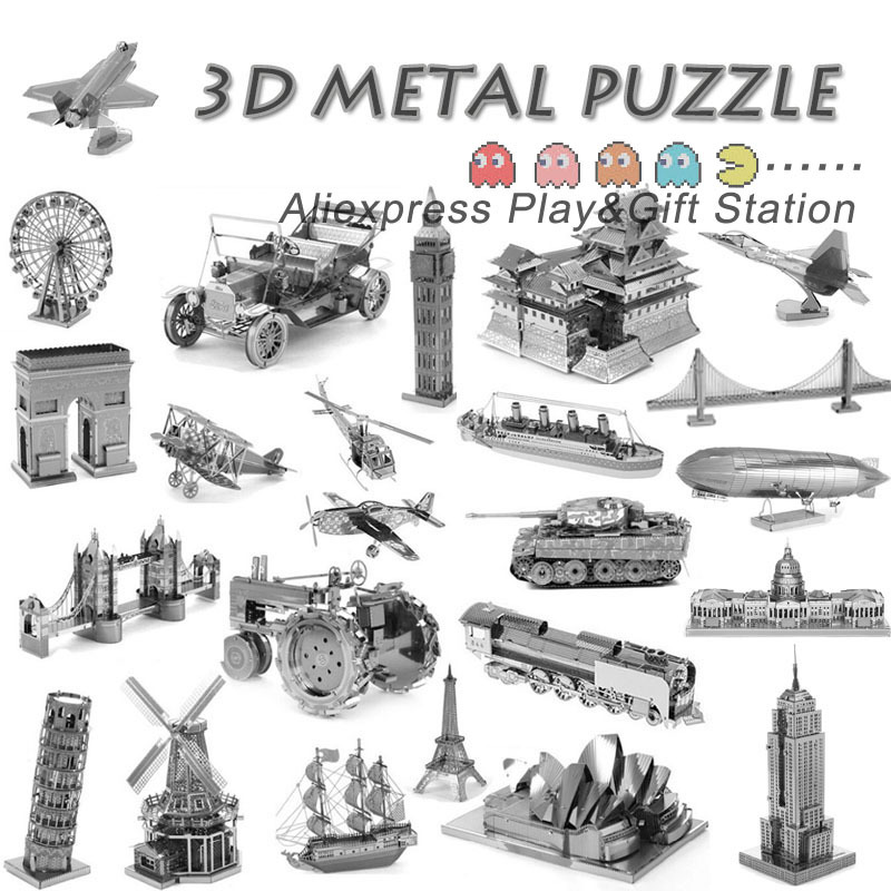3D Puzzle Metal Earth 3D Laser Cut Model 3D Jigsaws DIY Gift Eiffel Tower Big Ben Helicopter Tower of Pisa Wing Fighter toys(China (Mainland))
