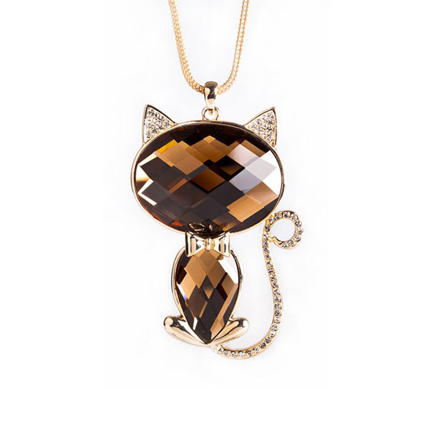 New sweater chain necklace high end color Crystal Necklace jewelry wholesale cat