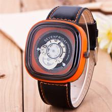 2015 nuevo cuero de la calidad reloj cuadrado creativo hombres reloj de cuarzo de moda exterior reloj deportivo 8 colors
