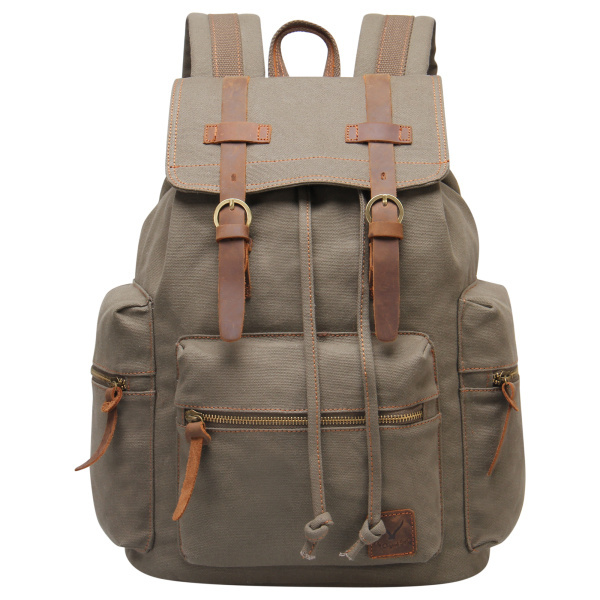 RETRO canvas leather hasp and drawstring backpack with many pocket school rucksack brand high Capacity MODBP0015812(China (Mainland))