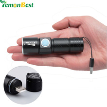 USB Handy Powerful LED Flashlight Rechargeable Torch usb Flash Light Bike Pocket LED Zoomable Lamp For Hunting Black(China (Mainland))