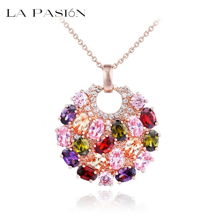 Luxury Design Multi-color CZ stone Paved Round Pendant Necklace Vintage Antique Pendant Necklace Bohemian(China (Mainland))