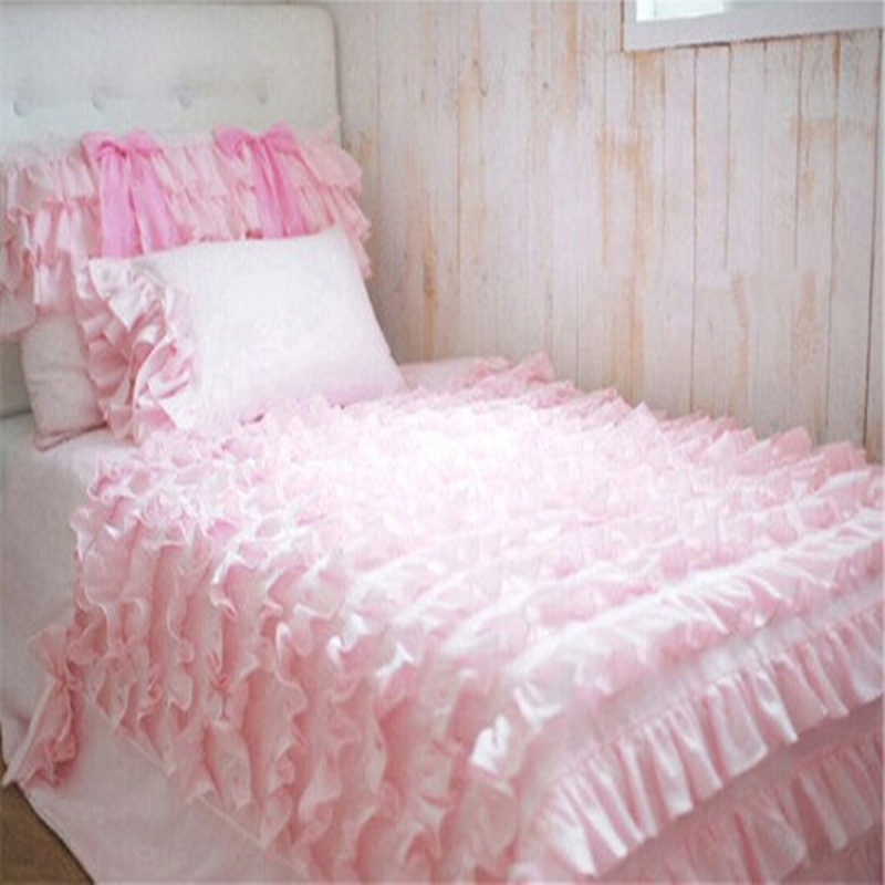4pcs/set Romantic bow bedding set 3colors princess wedding decoration bedding cake layers ruffle quilted duvet cover bedpread(China (Mainland))