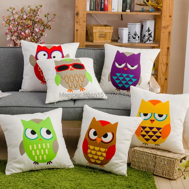 Площадь милый мультфильм сова подушка хлопок мягкий наволочки совы бросить подушку чехол для диван диван украшения 44 * 44 см