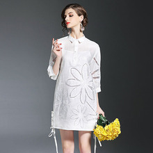 Buy Europe Brand Fashion Woman Designer Runway Dress 2017 New Spring Dresses Plus Size Hollow Embroidery Loose Casual Dress White for $56.78 in AliExpress store