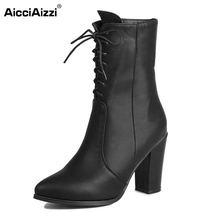 Buy Ladies High Heel Lace UP Boots Platform Sexy Half Short Warm Winter Martin Boot Women Footwear Heels Shoes Size 34-43 for $25.84 in AliExpress store