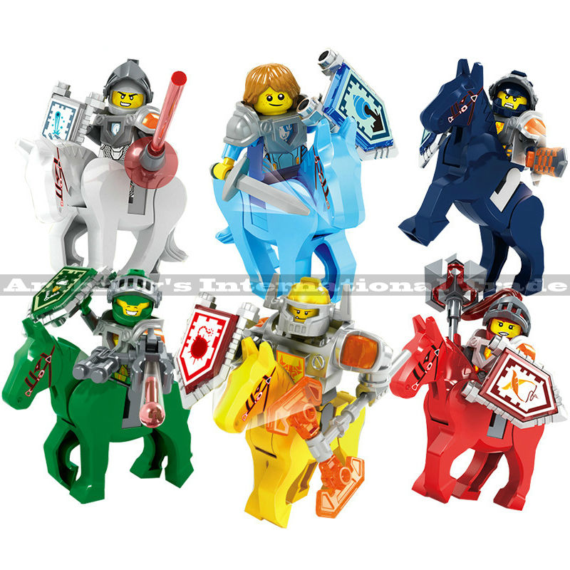 6pcs/set Nexus Knights Warhorse Minifigures Toy Clay Macy Lance Building Blocks Toys For kids Gift Compatible Legoelids Nexo(China (Mainland))