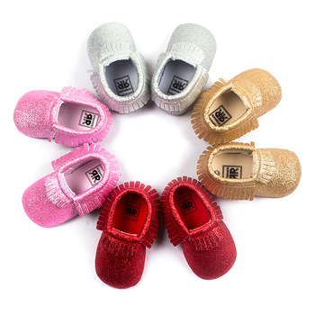 4COLORS Bling New metallic Newborn Cute Baby Boys Girls Toddler Infant Shoes Tassel Baby Moccasins Christmas Gift Shoes 0-18M