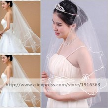 New Arrival 2016 Wedding Veil Pencil Edge Tulle Short Bridal Veils Two Layer Veu De Noiva In Stock Real Photo(China (Mainland))