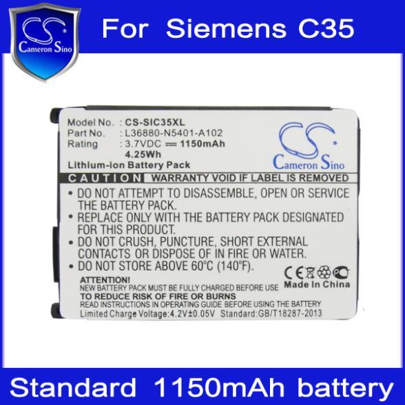 Гаджет  Mobile Phone Battery for Siemens C35/C35i/C35e/S35/M35/3506/3508/3518,1150mAh Replacement Battery HK Brand Cameron Sino None Электротехническое оборудование и материалы
