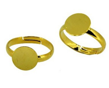 12Pcs/pack 10mm Adjustable Ring Bases Setting Jewelry Making Supply Components Findings with Pad, Gold Tone AE01314(China (Mainland))