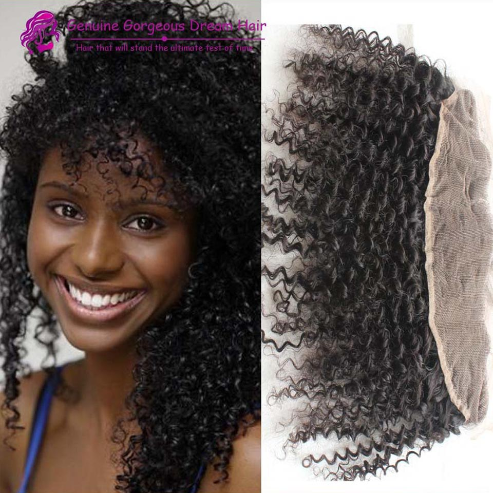 13x2 Kinky Curly Brazilian Lace Frontal 100% Peruvian Virgin Human Hair Kinky Curly Lace Frontal Bleached Knots With Baby Hair <br><br>Aliexpress