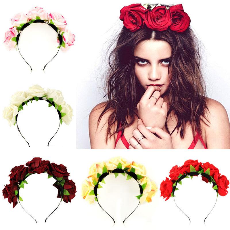 Handmade bride floral flower crown rose headband hair garland festival wedding hair accessories hairbands(China (Mainland))