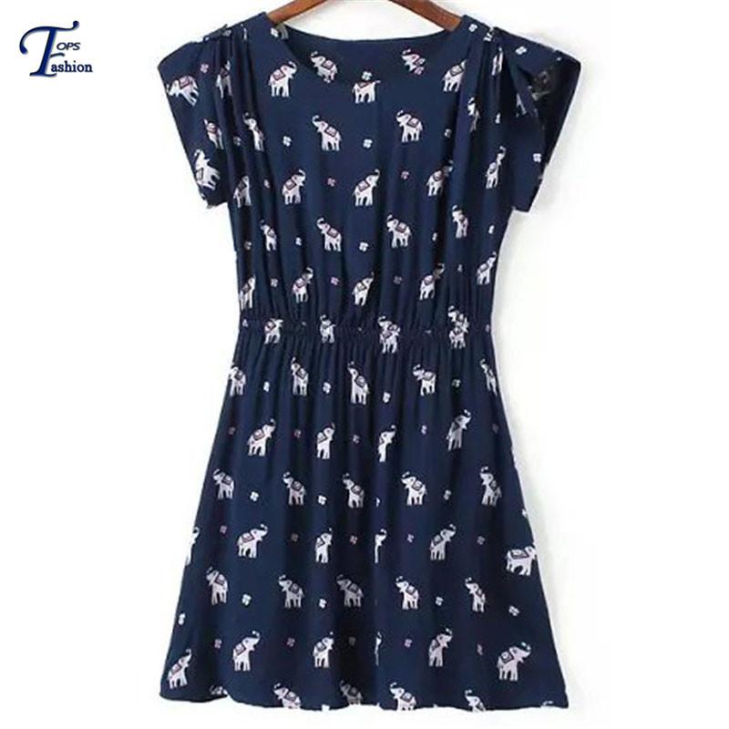 Korean Fashion Clothing Ladies Summer Kawaii Sale Casual Navy Short Sleeve Elephants Print A Line Button Round Neck Mini Dress(China (Mainland))