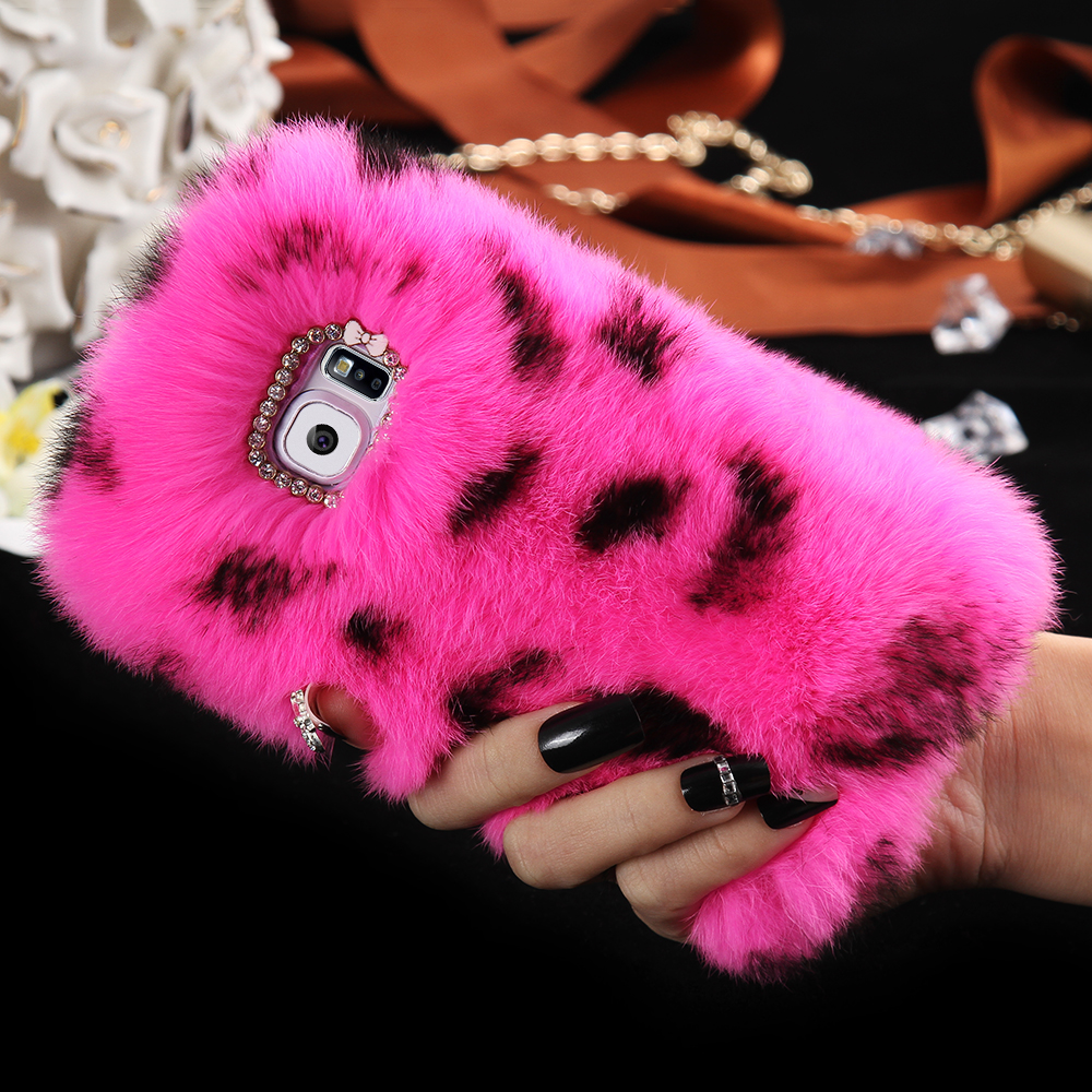 Luxury Fluffy Rabbit Hair Mobile Phone Case Cover For Samsung Galaxy S7 G9300/S7 Edge G9350 Soft Plush Fur Bling Rhinestone Case(China (Mainland))