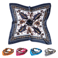 90 90cm Square Scarf Imitated Satin Scarves Shawl Hijab Carriage Chain Print Vintage Bandana Women Scarves