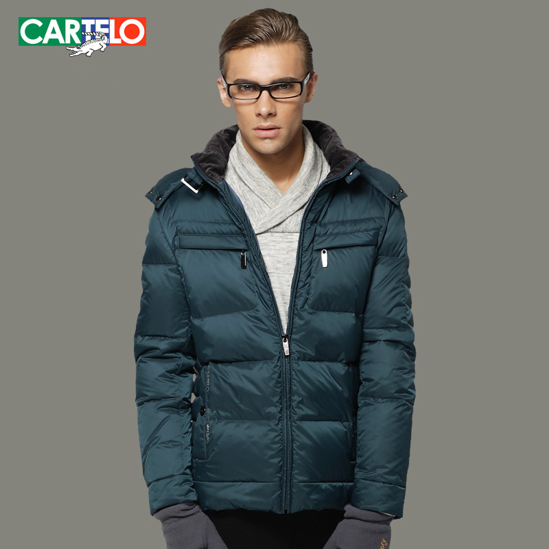 CARTELO Winter Men's Business Leisure Slim Thicken 90% Duck Down Jacket Coat with Hood Short Paragraph S-3XL(China (Mainland))