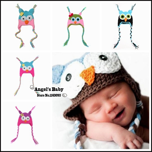 Crochet Baby Owl Hats,Newborn Props for Photography,Multi Color Caps Kids,Lovely Knitted Hat,#3C2650-2(China (Mainland))