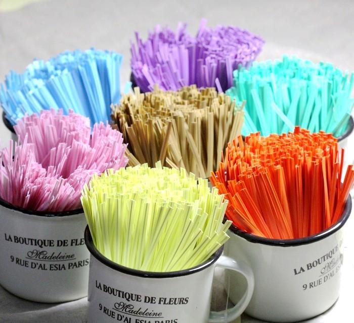 1000 Pcs 10cm Plastic Twist Tie Pure Candy Color Wire Metallic(China (Mainland))