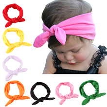 Girls Kids Baby Stretch Rabbit Bow Ear Hairband Headband Turban Knot Head Wrap Headwear
