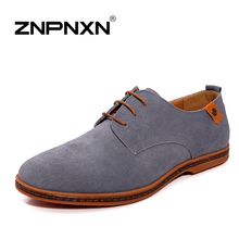 ZNPNXN Men Dress Shoes British Style Oxford Shoes For Men Flats Suede Leather Lace-Up Fashion Men Shoes big size(China (Mainland))