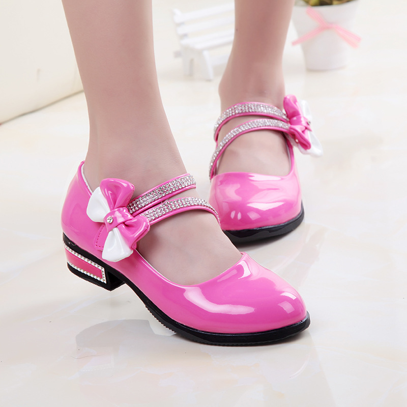 Children Shoes Kids Wedding Princess Shoes For Girls Toddler Girl High Heel Latin Dance Sandals Baby Dress Shoes PU Leather 2016(China (Mainland))