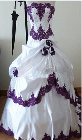 Online buy wholesale purple and white wedding dresses from for White wedding dress with purple accents