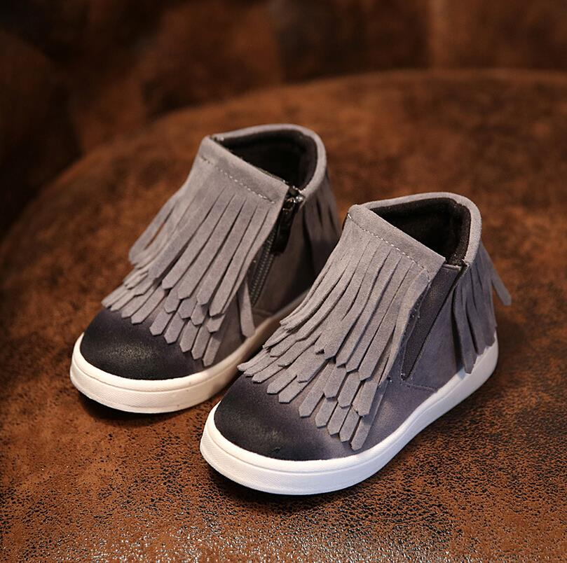 Spring Autumn Winter child/girl/kid motorcycle boots nubuck leather martin boots fringe flats shoes zip solid color short boots(China (Mainland))