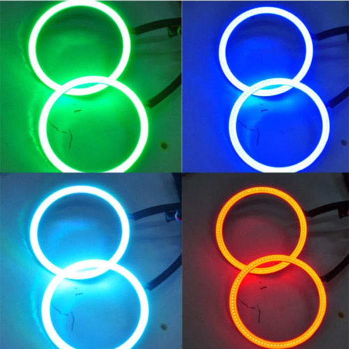 Fashion 2X90MM LED Multi-color RGB COB LED Angel Eye Halo Ring Flashing Strobing Smoothing Remote Control For Car Fog Headlight(China (Mainland))