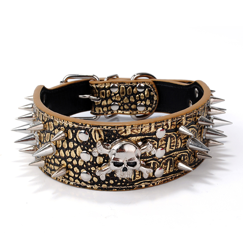 1PC Pet Accessories For Small Dogs Retractable Pet Dog Collars Animal Mascotas Spikes Studded PU Leather Dog Collar Skull Decor(China (Mainland))