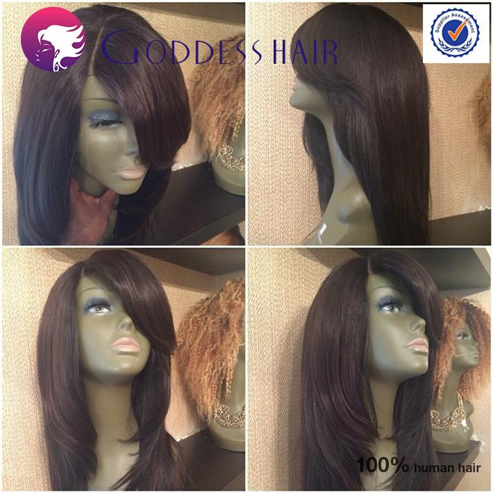 Hotselling layered bob cut wigs human hair full lace bob wigs with side bangs glueless short bob full lace wig natural black(China (Mainland))