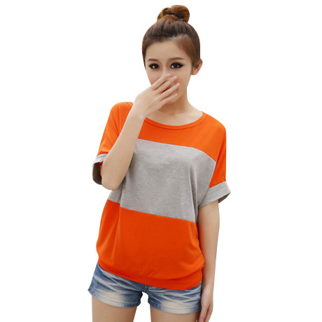 Hot Sale 2015 New Korean Version Summer Spell-color T shirt Batwing sleeve Top Tees Women T-Shirt Big Size MB001(China (Mainland))
