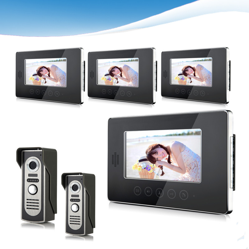 Hot Sale Touch Key SmartHome Black 7Inch TFT LCD Screen Video Intercom Phone,Two to Four Video Doorphone Kit Configuration D235a<br><br>Aliexpress
