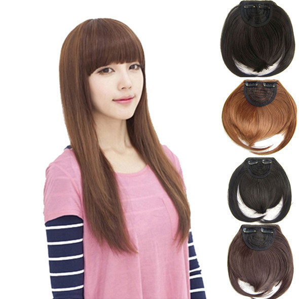 Гаджет  Hot Gorgeous Natural Clip in on Front Neat Bang Fringe Hair Extensions Multi-Colors Hot None Волосы и аксессуары
