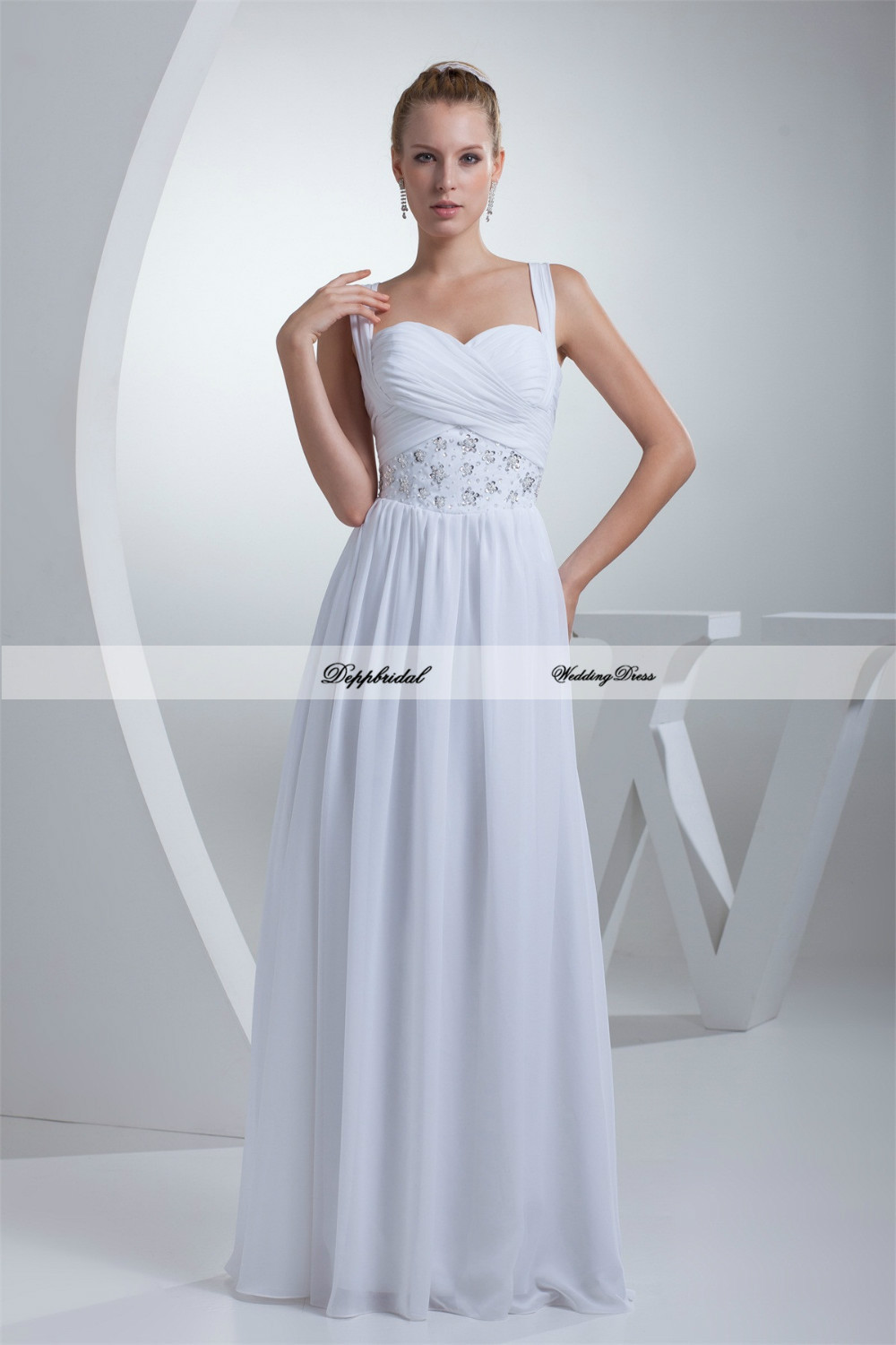 Wholesale wedding dress chiffon sweetheart a line beading for Cheap chiffon wedding dresses