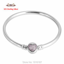 925 Sterling Silver Bangle With CZ Heart Clasp Bracelet Compatible with Pandora Style Beads DIY Bangle(China (Mainland))