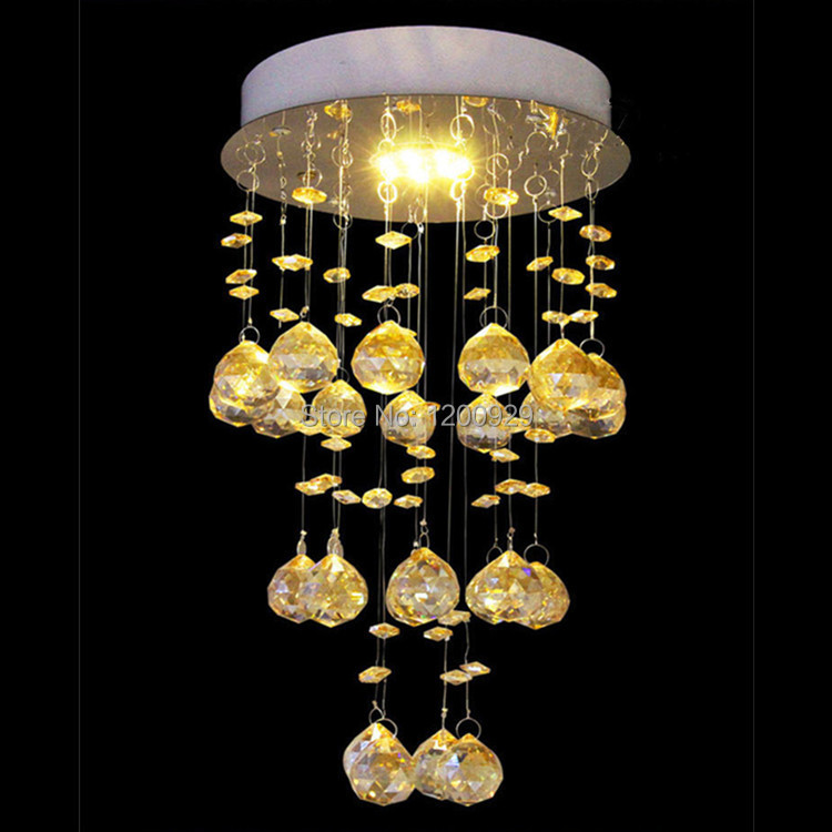 Wonderland 2015 New LED K9 Yellow Amber Crystal Glass Ball Ceiling Light Luxury Modern Lustres Aisle/Dining/Living Room D-14(China (Mainland))