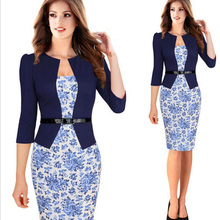 One-piece Faux Jacket Brief Elegant Patterns Work dress Floral Lace Patchwork Business Pencil Sheath Bodycon Office Dress