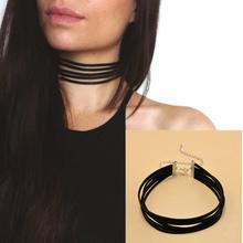 Harajuku 90's Black Velvet Choker Necklace 5 layers Goth Gothic Handmade Ribbon Collar Necklaces Retro Burlesque Free Shipping(China (Mainland))